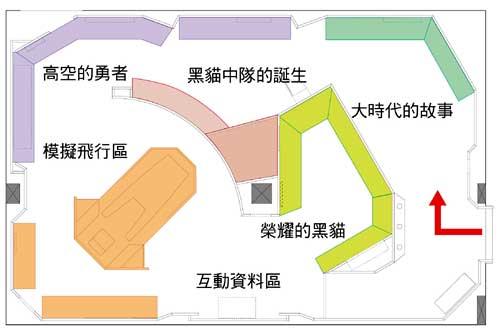 高空的勇者-黑貓中隊特展陳展室平面圖